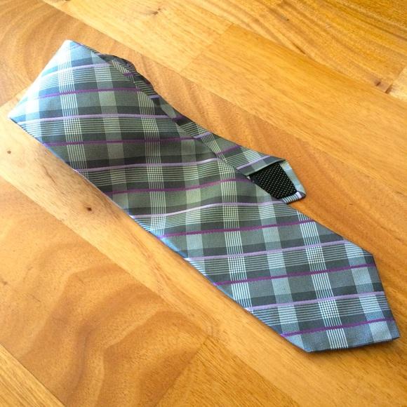 Michael Kors gray, purple silk tie